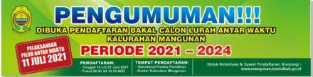 PERSYARATAN PENDAFTARAN BAKAL CALON LURAH ANTARWAKTU KALURAHAN MANGUNAN PERIODE 2021-2024
